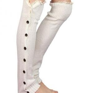 Ivory Button Down Leg Warmers, Boot..