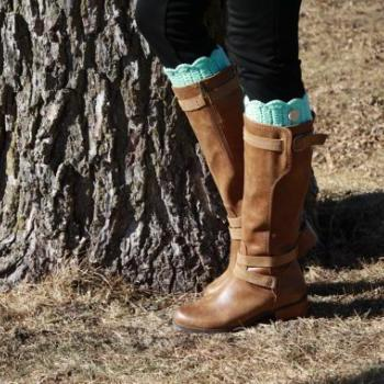 Mint Knitted Boot Cuffs, Knit Boot Toppers, Handknit boot cuffs, lace legwarmers, lace boot socks