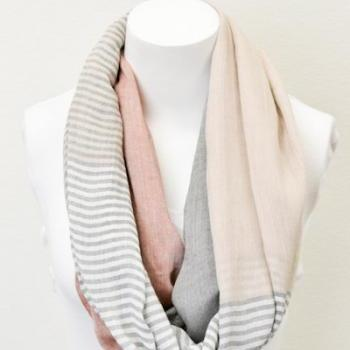 Coral Pashmina Infinity Scarves with Pastel Stripes Color Blocking Spring Colors Scarves, Infinity Scarves, Pashmina Scarves, Infinity Scarf