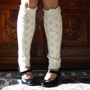 Ivory Cable Knit Lacy Leg Warmers, Button Leg Warmers, Leg Warmers, Lace Leg Warmers